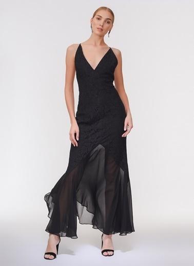 Davet Çok Elbisem Yok İp Askılı Şifon Abiye Elbise Siyah